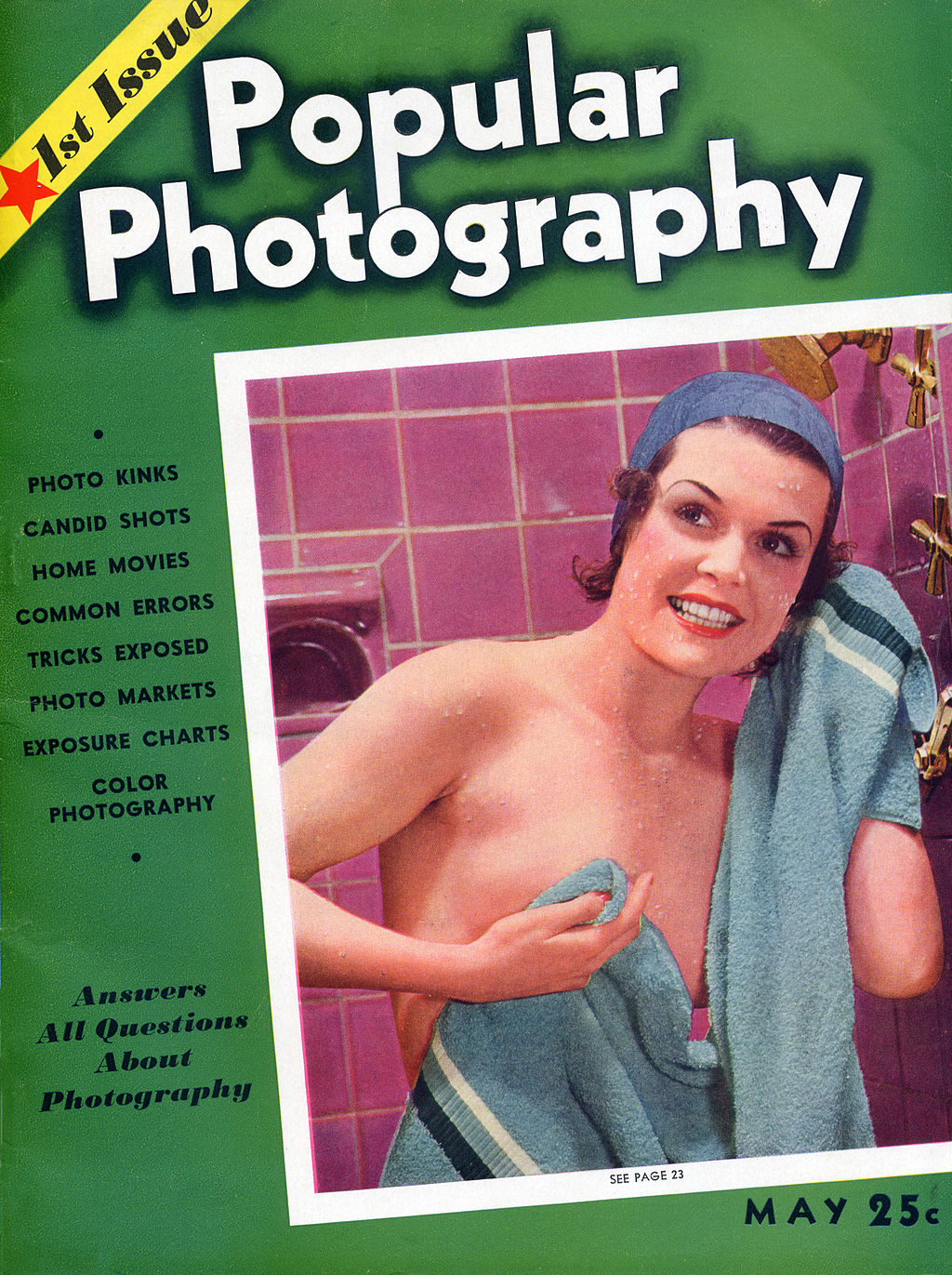 The cover of the very first edition of Popular Photography magazine from 1937